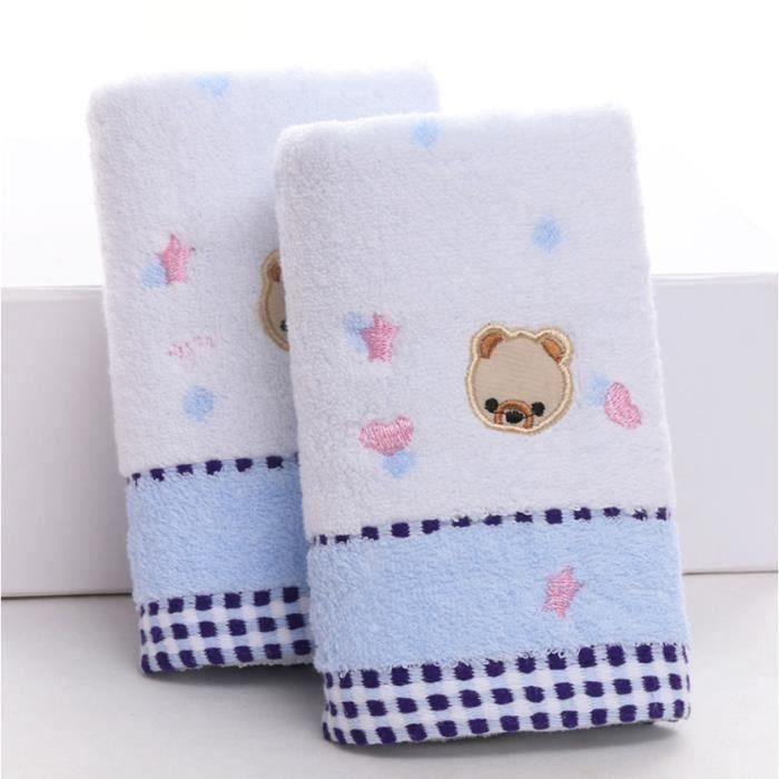 Lot de 2 Serviettes de toilette en Coton pour bébé enfant Serviette de bain Doux Belle Animal Bleu