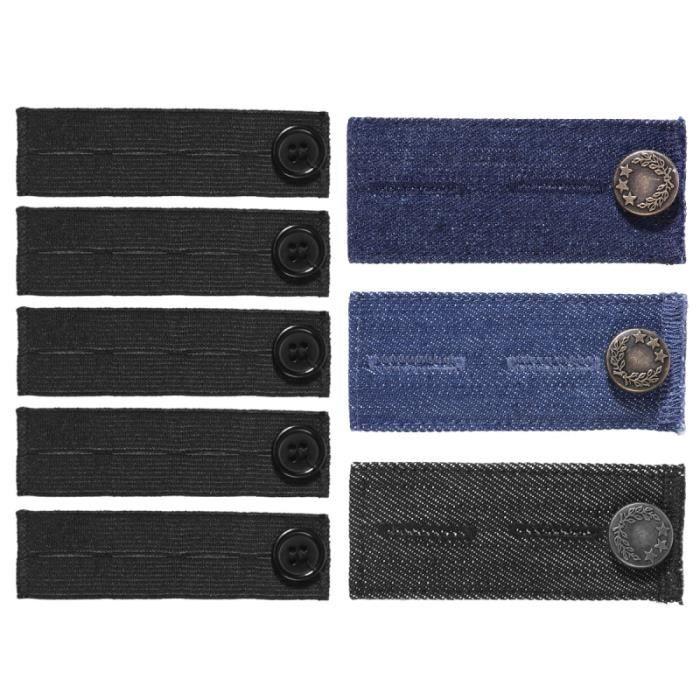 ROSENICE 8PCS Pantalon élastique ajustable Ceinture Bouton Extendeurs Extendeur de Jeans pour Pantalons Enceinte (Noir, Bleu