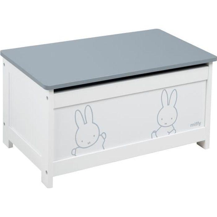 ROBA Coffre à jouets -miffy®- en bois - siège pliable - banc coffre blanc