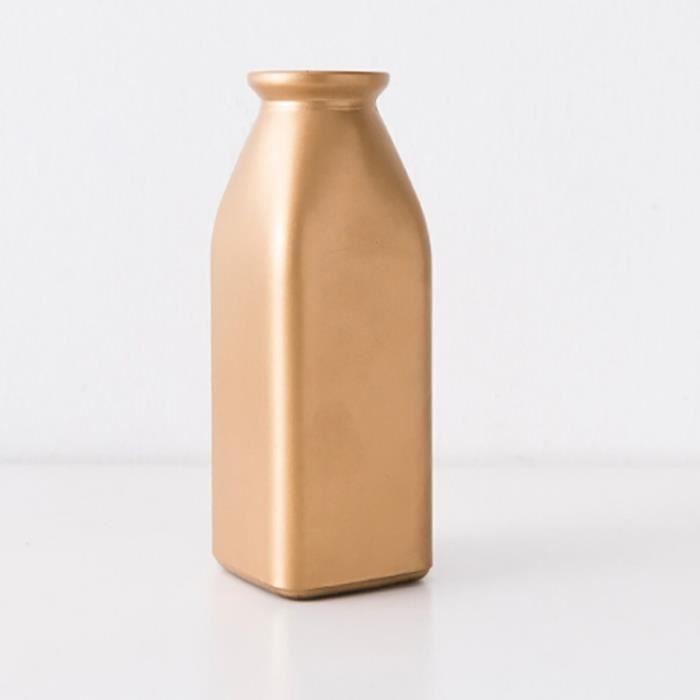 Bouteille De Fleur De Barre De De Séchée En Verre D'or Galvanisée De Décoration De Restaurantforme Vase Carré - 421909 Or