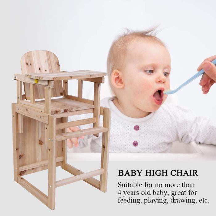 Chaise haute Baby Deluxe Chaise haute pour bébé table haute amovible en bois massif avec plateau réglable -CWU
