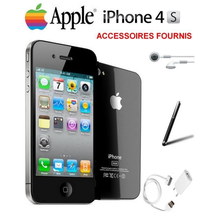 vente flash apple iphone 4s noir 16go debloque achat. Black Bedroom Furniture Sets. Home Design Ideas