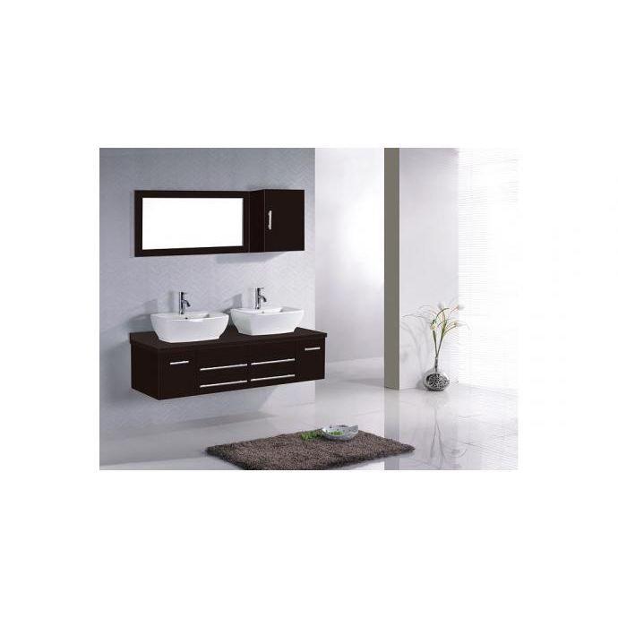 Meuble de salle de bain Hera 2 vasques + 1 Miroir - Wengé
