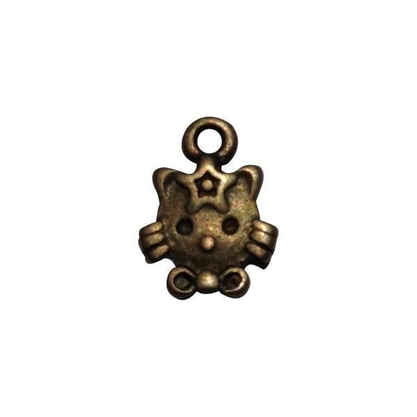 Perles Breloque Hello Kitty bronze 13mm (1 pièce)