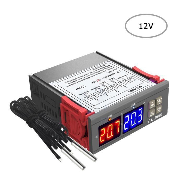 Contr/ôleur de Temp/érature et dhumidit/é,Affichage Num/érique Temp/érature humidit/é R/égulateur Thermostat Hygrom/ètre avec Capteur Int/égr/é Sortie de Relais 12V