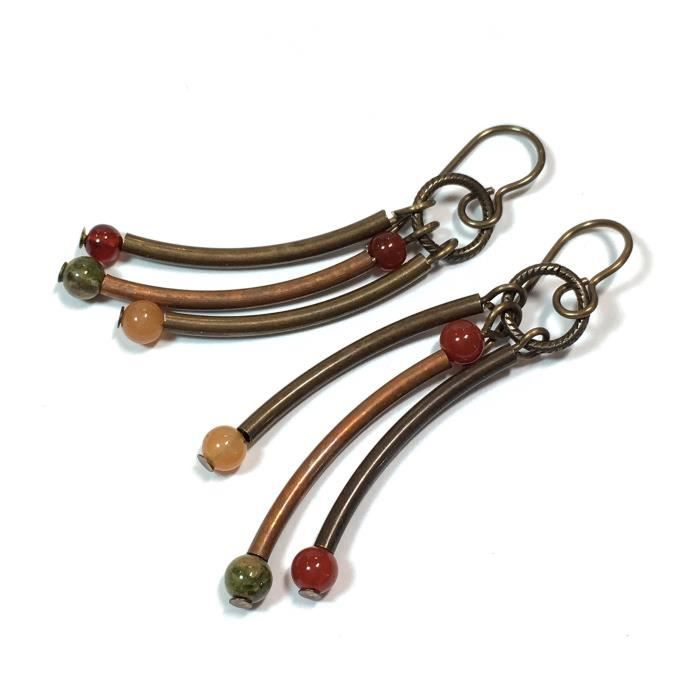 Womens Brass And Copper Tube Dangle Earrings (#317) NELY6