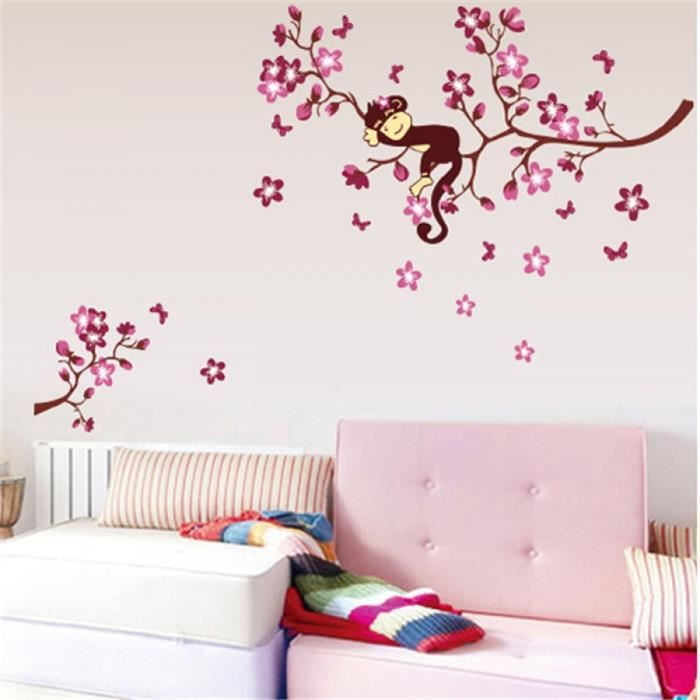 rose branche animaux singe vinyle stickers muraux pour enfants chambres gar ons fille papiers. Black Bedroom Furniture Sets. Home Design Ideas