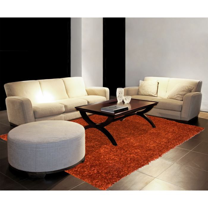 tapis shaggy orange 60x90 luxe achat vente tapis cdiscount. Black Bedroom Furniture Sets. Home Design Ideas