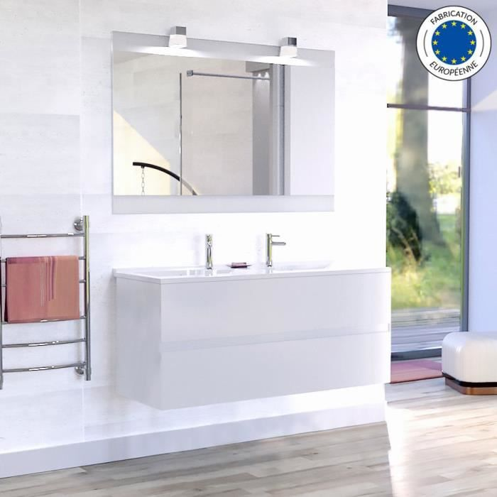 Meuble salle de bain simple vasque ROSALY 120 - Blanc brillant - 120 ...