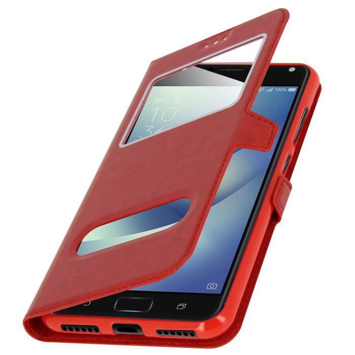 Housse Asus Zenfone 4 Max Zc520kl Etui Double Fenêtre Coque Silicone Gel Rouge Achat Housse étui Pas Cher Avis Et Meilleur Prix Cdiscount
