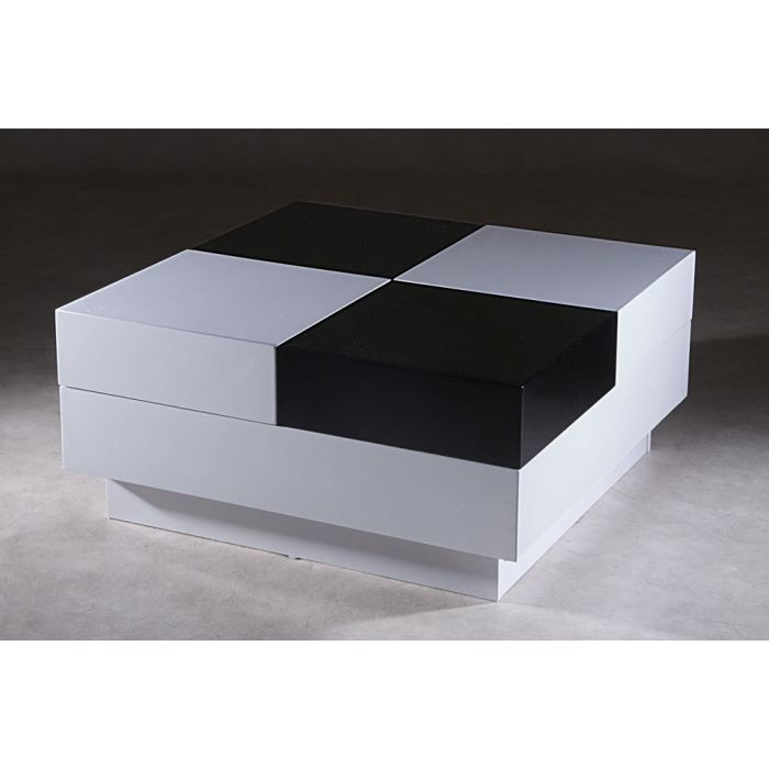 table basse dona bois laqu noir et blanc achat vente. Black Bedroom Furniture Sets. Home Design Ideas