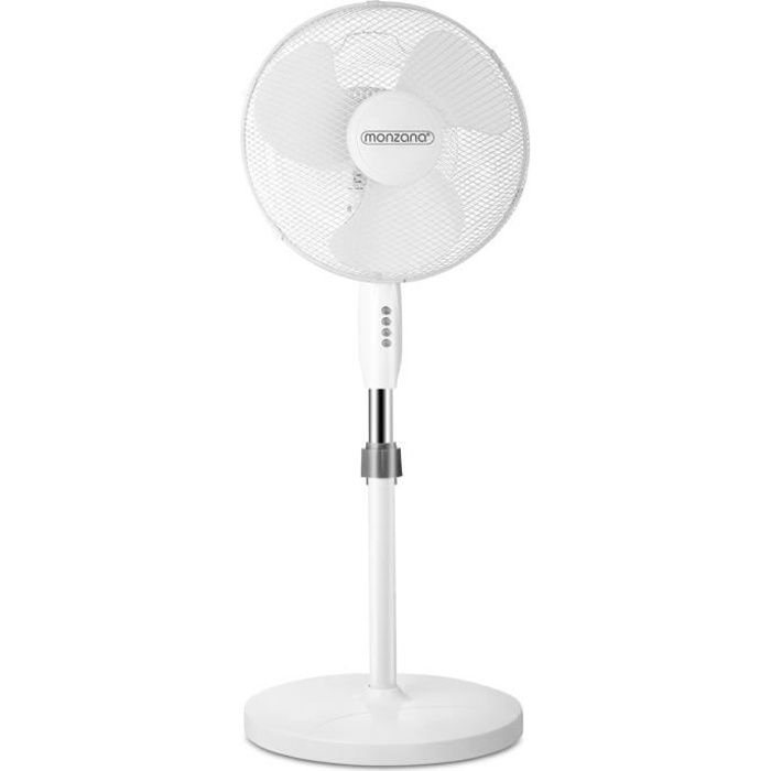 Ventilateur sur pied blanc I oscillant I rotatif 90/° I avec 3 vitesses I /Ø 40 cm I Hauteur r/églable