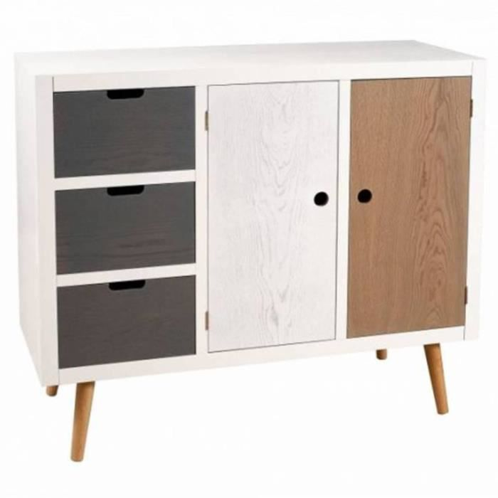 buffet 2 portes 3 tiroirs enzo en bois style sc achat vente buffet bahut buffet 2. Black Bedroom Furniture Sets. Home Design Ideas