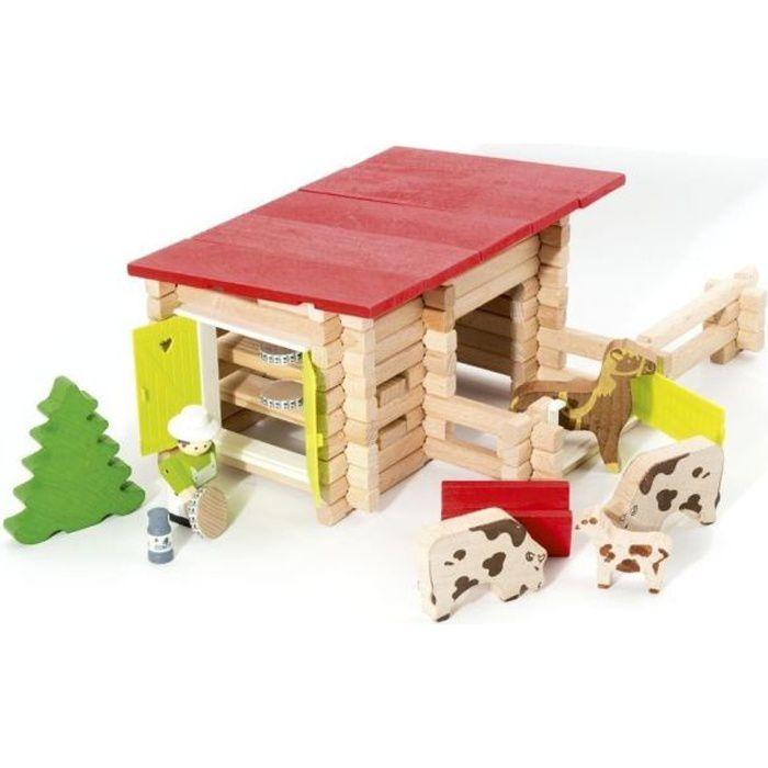 ASSEMBLAGE CONSTRUCTION JEUJURA - Petite Ferme en bois avec Animaux -100 p