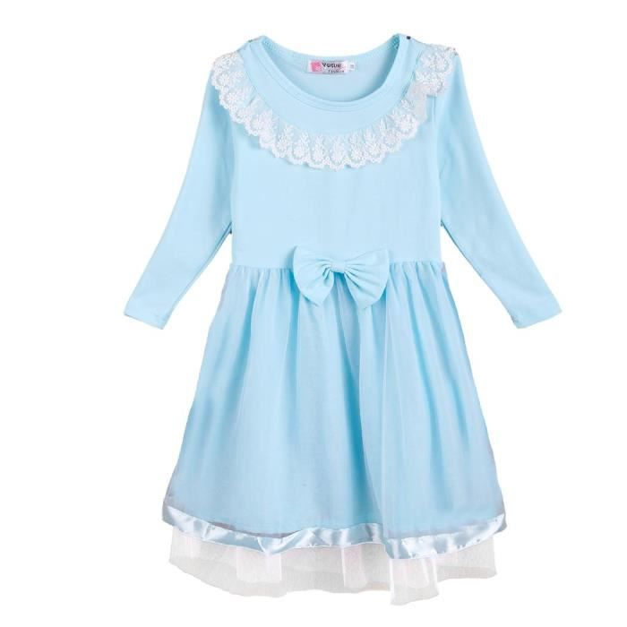 Robe fille Arshiner mignonne O-cou manches longues maille Patchwork dentelle Bow