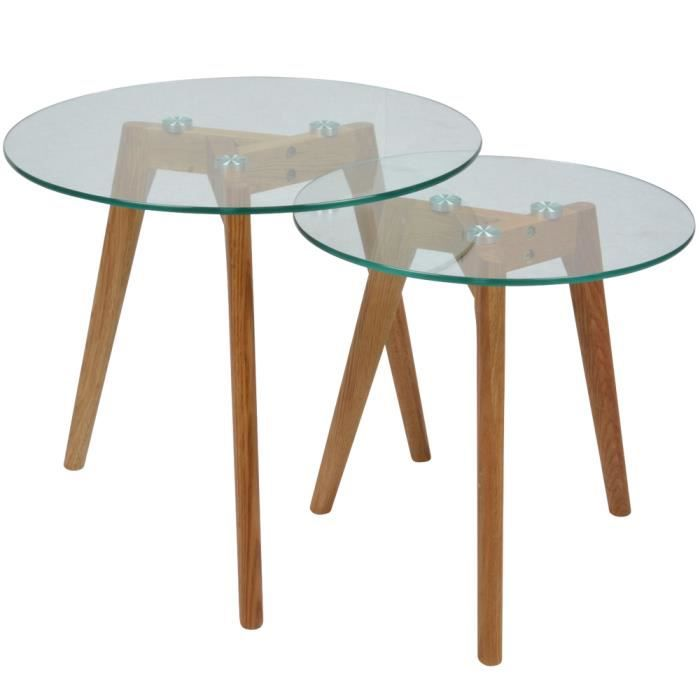 2 tables basses en verre gigognes rondes fiord achat for Mesas de salon redondas