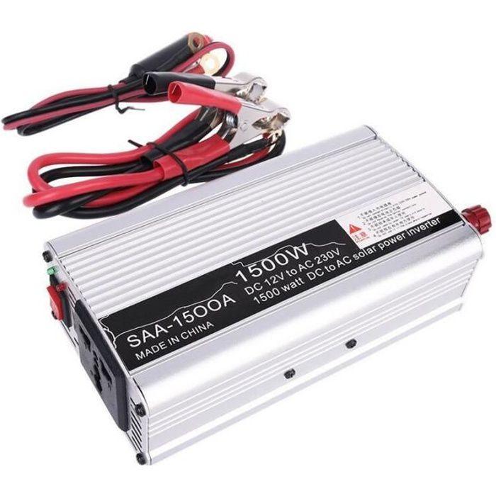 CARRYBATT Convertisseur 2000W Onde Pur Sinus Onduleur DC 12V /à AC 220V 230V avec t/él/écommande /& AC Prises de Courant /& 2.1A Port USB-Puissance de Pointe 4000W transformateur de Tension