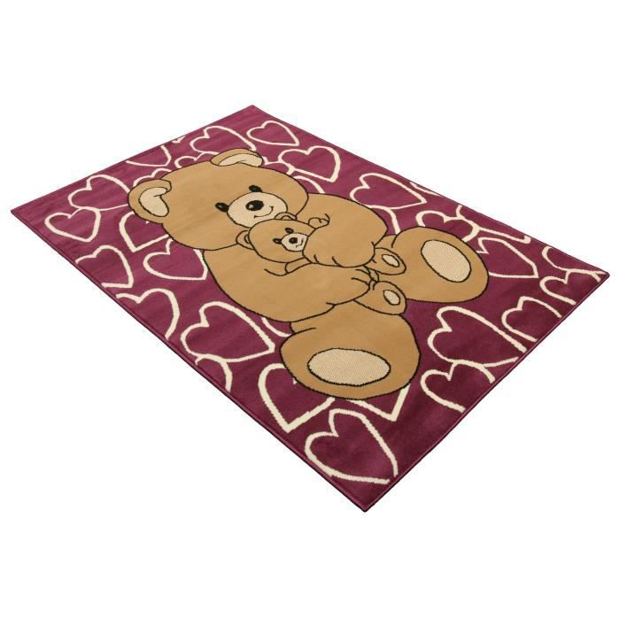 tapis chambre nounours enfant violet universol achat vente tapis cdiscount. Black Bedroom Furniture Sets. Home Design Ideas