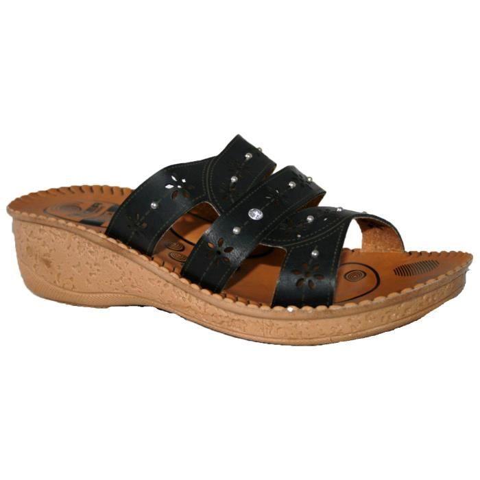 pour femme  slip on peep toe mule sandales mules confortables et douces 3VYIEQ Taille-36