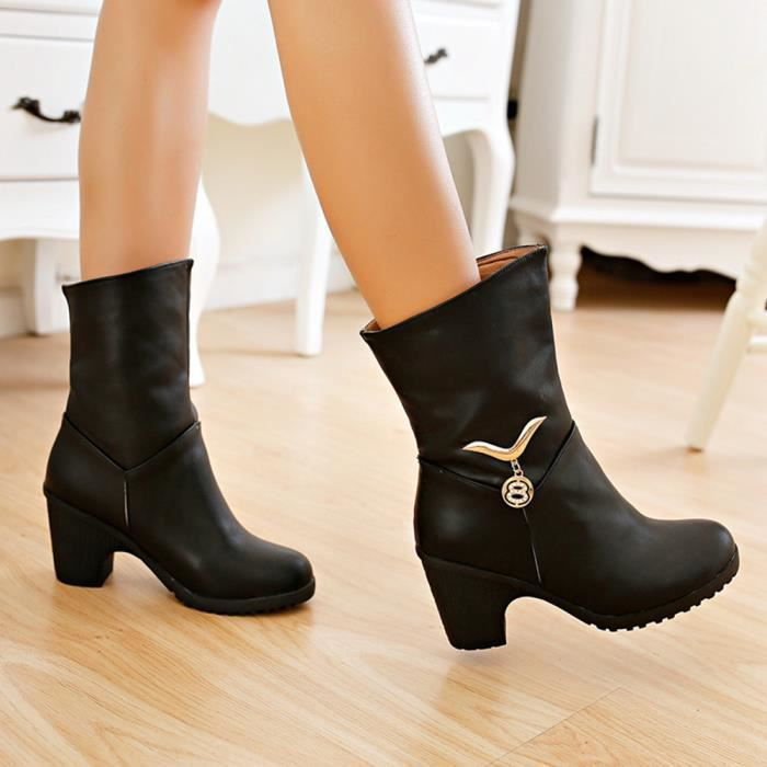 Chaussures chaudes Casual métalliques décoratifs Bottes à talon Bottes coton cheville de femmes veberge@10793