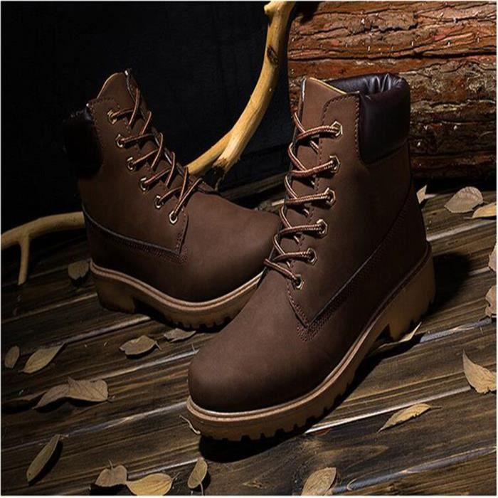 Martin Bottines Hommes Durable Durable En Cuir Peluche Boots YLG-XZ030Marron41-jr