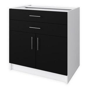 ELEMENTS BAS OBI Meuble bas de cuisine L 80 cm - Noir mat