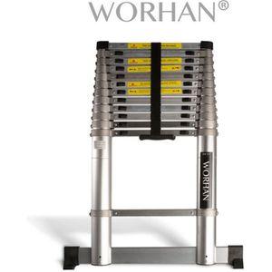 WORHAN/® Echelle 4.4m T/élescopique PRO Technologie Air Soft Close Aluminium Anodis/é Solide Extensible Avec une Barre Stabilisatrice 440cm 1K4.4Air+bag