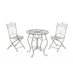 SALON DE JARDIN  Ensemble de jardin avac table + 2 chaises en métal