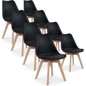 CHAISE Lot de 8 chaises style scandinave Catherina Noir