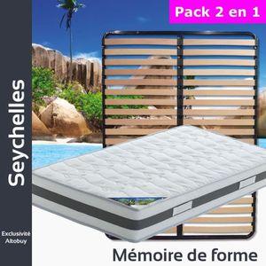 ENSEMBLE LITERIE Seychelles - Pack Matelas + Lattes 120x190