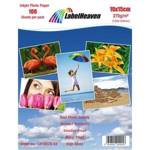 PAPIER PHOTO LabelHeaven - 100 Feuilles Papier Photo 10x15 cm (