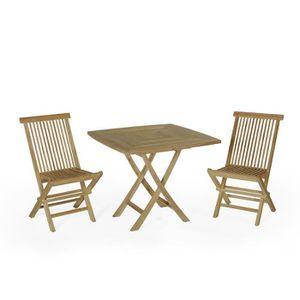 Salon de jardin en teck Ecograde Malo, table pliante carrée 90 x 90 cm + 2  chaises Java