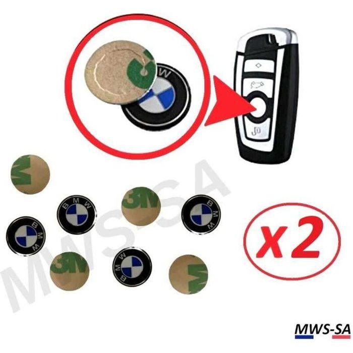2x Logo Autocollant Clé BMW 11 mm en Aluminium Emblème Stickers Clefs Voiture