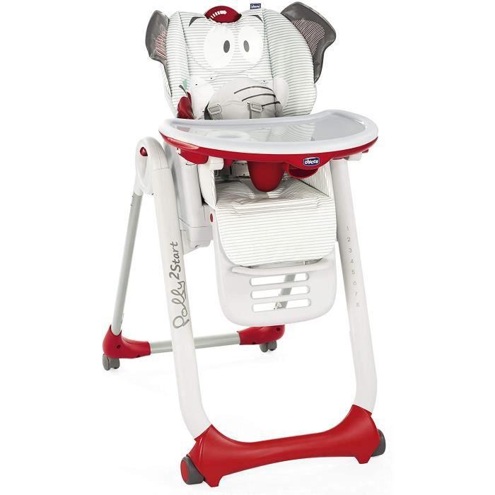 Chicco - Chaise Haute Bébé Polly 2 Start - 4 Roues - Naissance à 3 ans - Baby Elephant