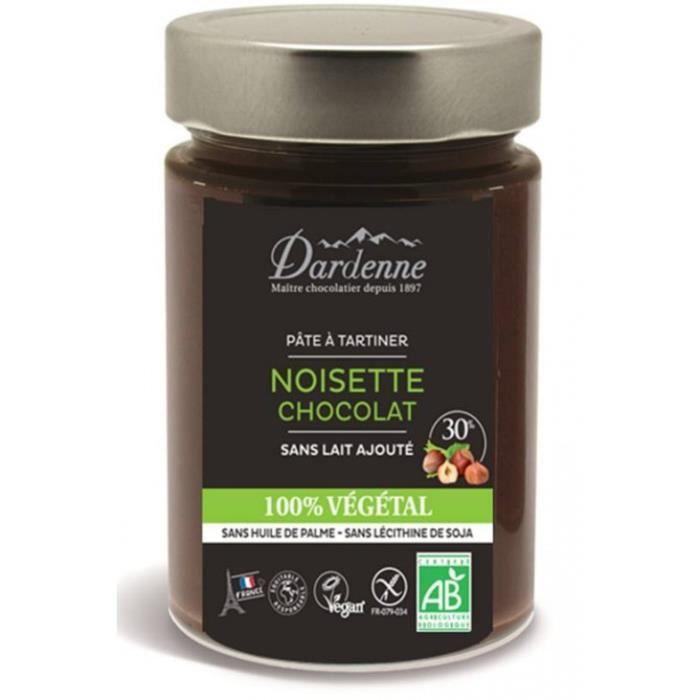 Pâte à tartiner noisettes chocolat 100% végétal 300gr - Dardenne