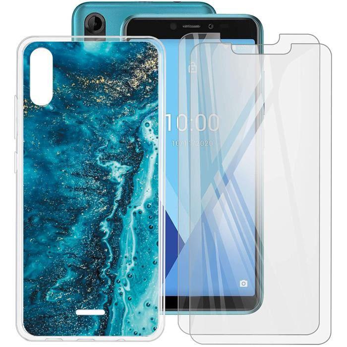 2 Pack verre trempé + Pour WIKO Y51 Slim Soft Transparent Silicone TPU Coque téléphone eau de mer