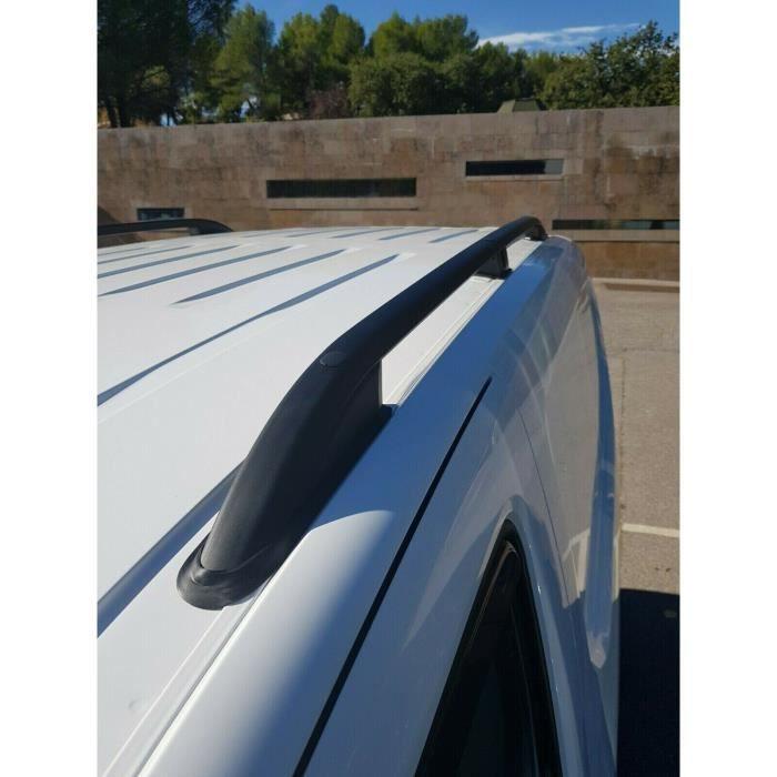 Barres de toit pour Citroen Berlingo III 09/2018> Live court (SWB) longitudinales noir alu + pieds plastique