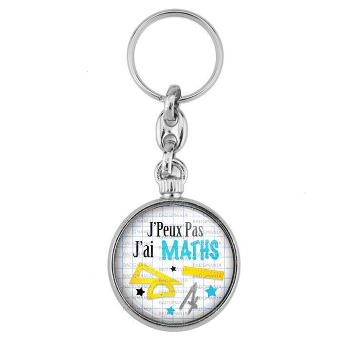 Porte Clés Métal 2 Faces Logo 3.3cm J'Peux Pas j'ai MATHS - Regle Rapporteur Compas