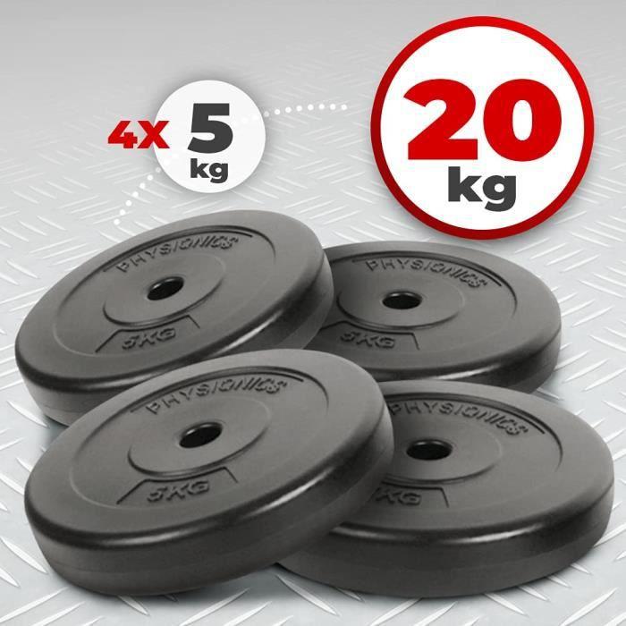 Physionics® Set de Disques de Poids - 4 x 5kg, Ø 27mm, avec Revêtement en Plastique - Plaques de Poids pour Barre d'Haltère, Fitness