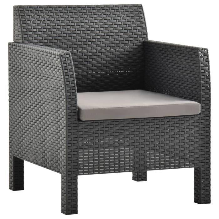 BINGO - Chaise de jardin avec coussin PP Anthracite - Chaise d'extérieur ,Chaise de terrasse ,Fauteuil de balcon-7776