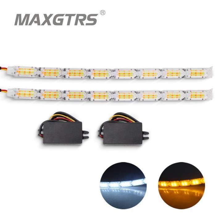 Double Flash Mode 8 LED -Interrupteur pour voiture, étanche, blanc et ambre, LED Knight, bande lumineuse, flash séquentiel, clignota