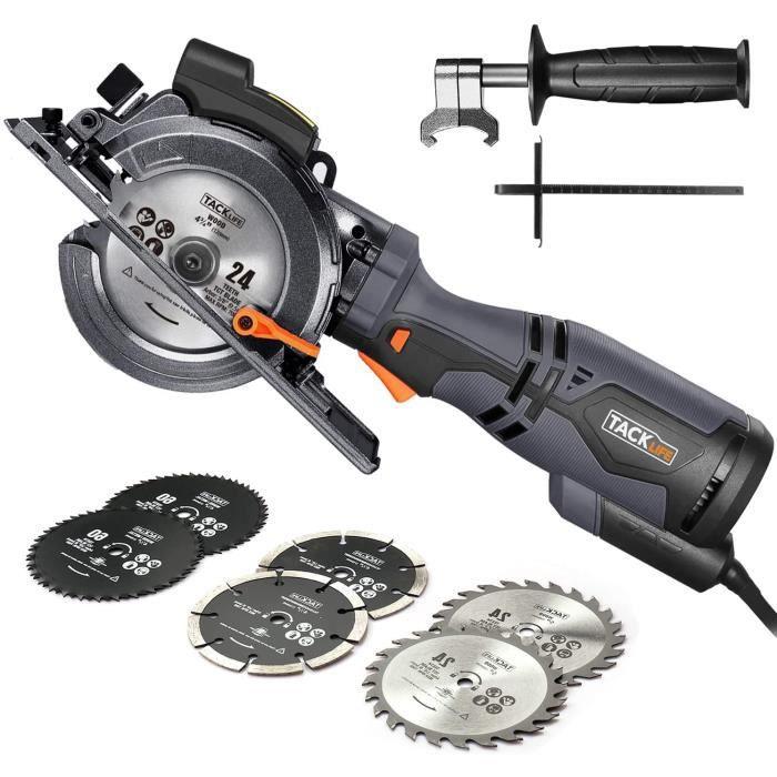 TACKLIFE Scie Circulaire Compacte, 6 Lames (120mm et 115mm), Guide Laser, 710W, Profondeur de Coupe 42,9mm (90°), 34,9mm (45°), Poig