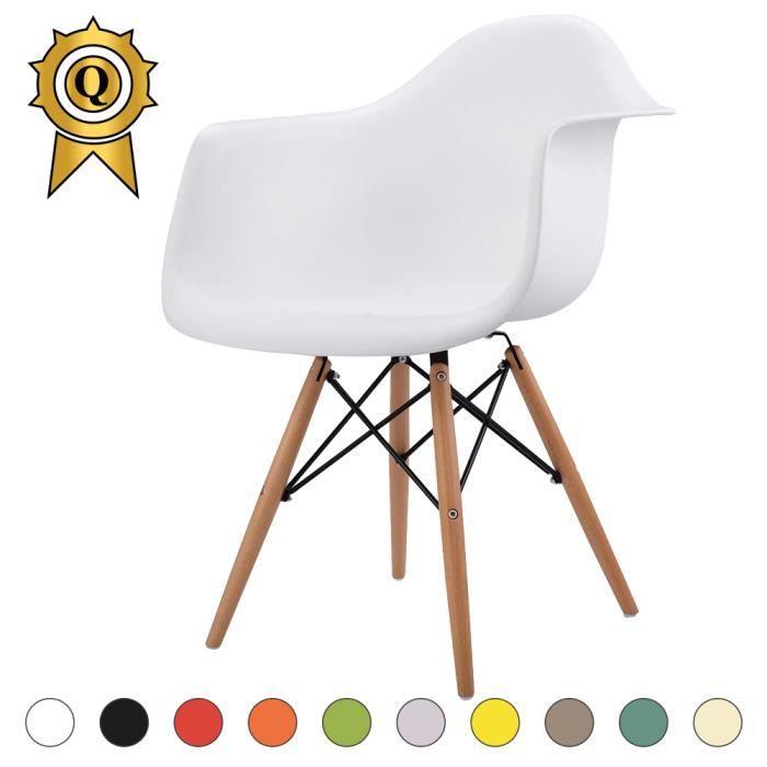 1 x Fauteuil Design Retro Inspiration Eames DAW Pieds en Bois Naturel Blanc Mobistyl®