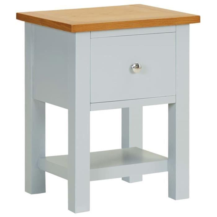 Rui DA® Table de chevet 36x30x47 cm Bois de chêne massif