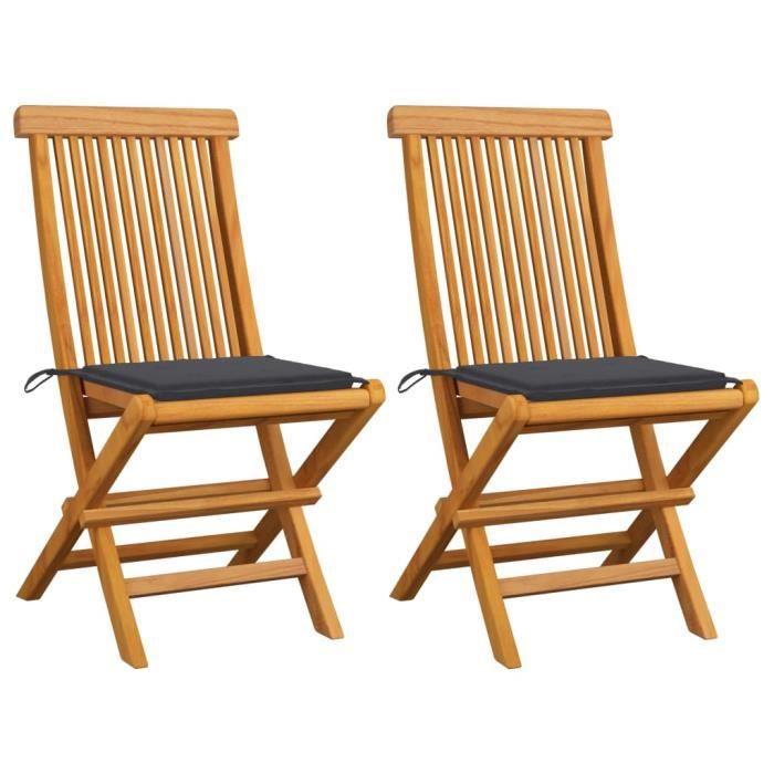 Economique❤ Lot de 2 Chaises de jardin Mode - Fauteuil de Jardin avec coussins - Chaise d'extérieur anthracite Bois de teck ♪♪53775