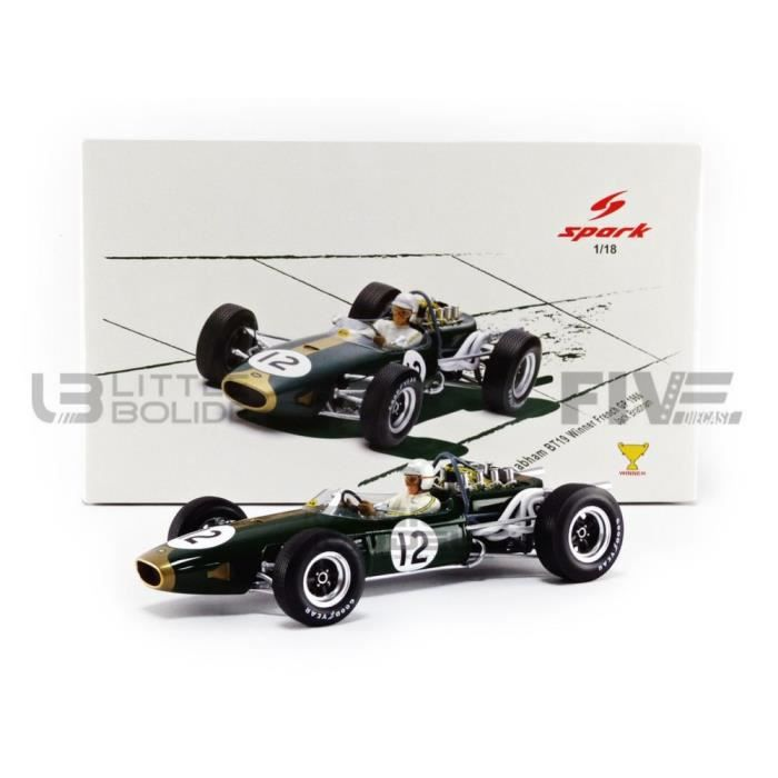 Voiture Miniature de Collection - SPARK 1/18 - BRABHAM BT19 - Winner GP France 1966 - Green / Or - 18S505
