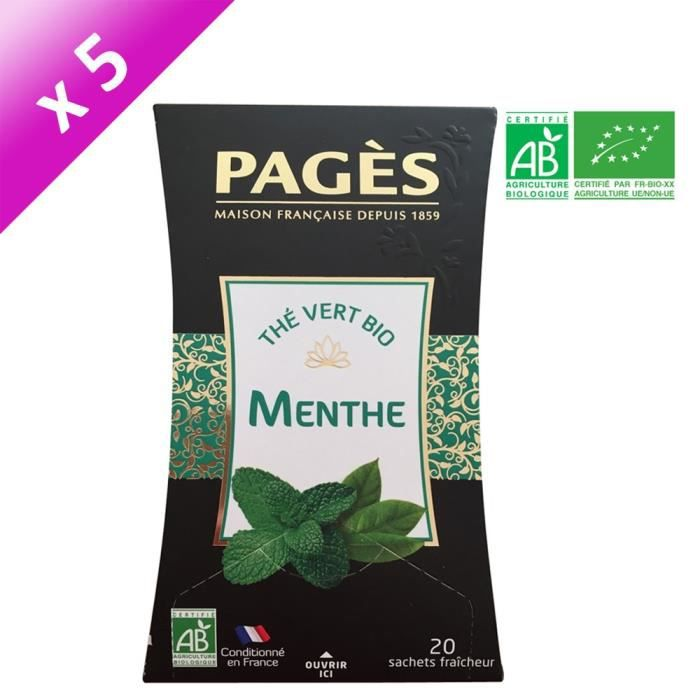 [LOT DE 5] PAGES Thé Vert Menthe - Bio
