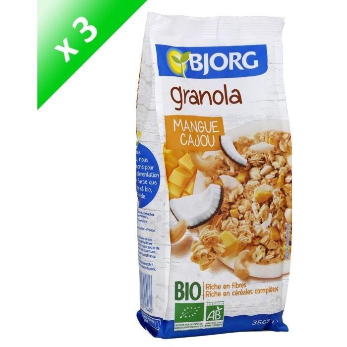 [LOT DE 3] BJORG Granola mangue cajou - 3 x 350g