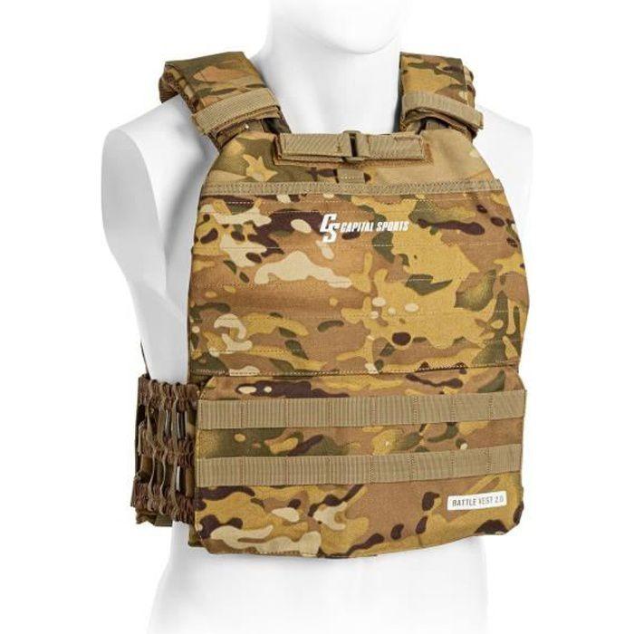 CAPITAL SPORTS Battlevest 2.0 Gilet lesté pour exercices de musculation : 2 poids de 4 kg + 2 poids de 2,6 kg - look camouflage