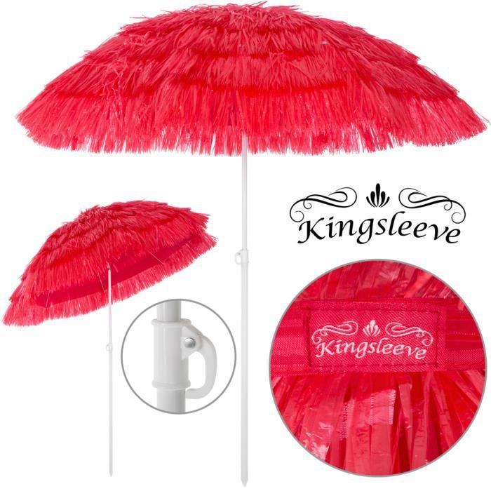 Parasol Hawaii - Ø 160 cm - Rouge - Inclinable pour jardin terrasse balcon plage